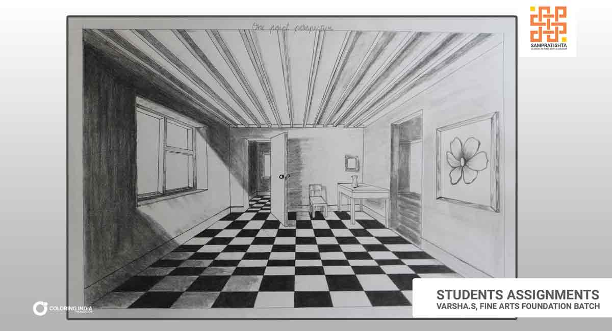One Point Perspective Drawing Creating Distances